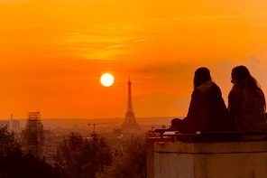 Magical sunset on the terrace above Paris